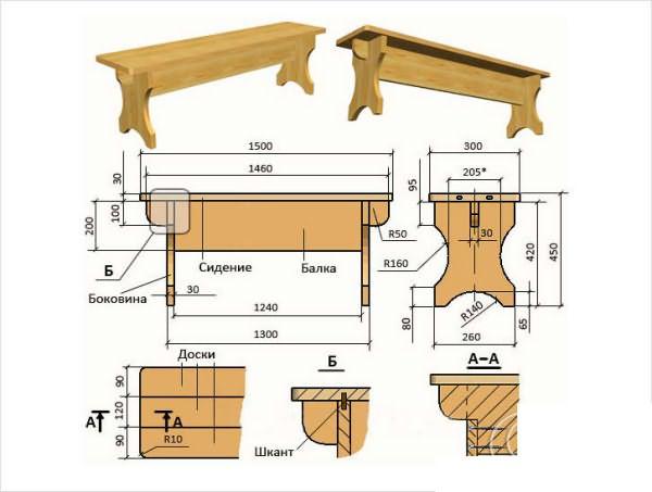Чертежи мебели для бани и сауны из дерева своими руками